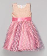 Pink Sequin A-Line Dress - Girls