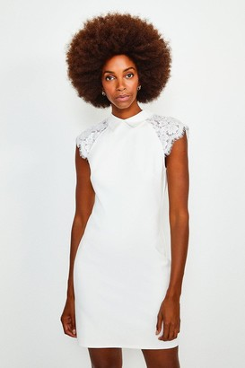 Karen Millen Collared Lace Panel Jersey Dress