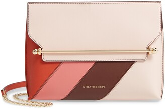 Strathberry Stylist Colorblock Patchwork Stripe Leather Convertible Clutch