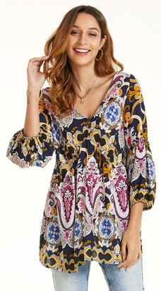 SONJA BETRO Women's Printed Rayon Button Detail 3/4 Balloon Sleeve Empire Tunic Tops Blouse/101NAVY/MARIGOLD/Small