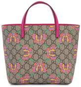 Gucci Gg & Butterflies Faux Leather Tote Bag
