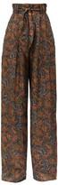 Christopher Kane Paisley-print Satin-twill Trousers - Womens - Navy Multi