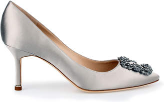 Manolo Blahnik Hangisi 70 silver grey satin pumps