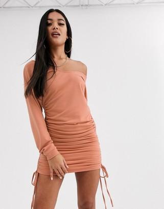 ASOS DESIGN off the shoulder ruched side mini sweat dress