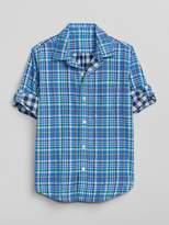 Gap Double-Weave Plaid Convertible Shirt