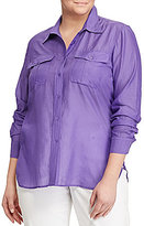 Lauren Ralph Lauren Plus Cotton-Silk-Voile Shirt