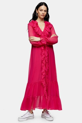 Topshop Womens Pink Chiffon Ruffle Maxi Dress - Pink