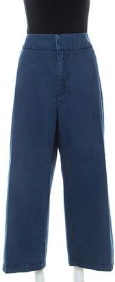 Marni Blue Denim Cropped Wide Leg Pants L