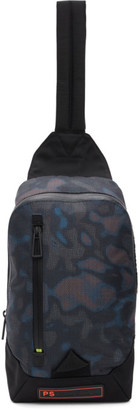 Paul Smith Black Heat Map Camo Sling Backpack