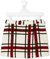 MSGM checked bouclé a-line skirt