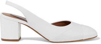 Tabitha Simmons Beryl Smooth And Patent-leather Slingback Pumps