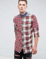Diesel S-Melvin Patchwork Check Shirt Long Sleeve Denim Collar
