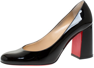 Christian Louboutin Black Patent Leather Baobab Block Heel Pumps Size 38.5