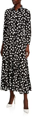 Carolina Herrera Polka-Dot Tie-Waist Shirtdress