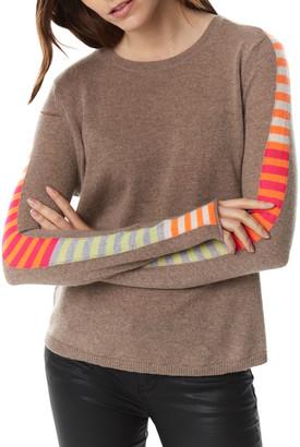 LISA TODD Finish Line Arm Stripe Curved-Hem Cashmere Sweater