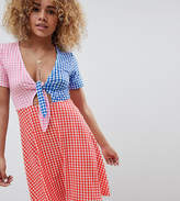 a67b40dbb03 ASOS DESIGN knot front mini sundress in seersucker in gingham
