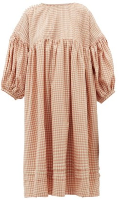 Story mfg. Mon Pintucked Gingham Cotton Midi Dress - Pink Multi