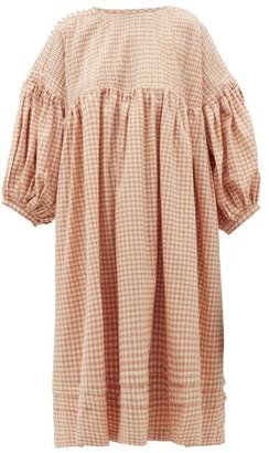 story. Mfg - Mon Pintucked Gingham Cotton Midi Dress - Womens - Pink Multi