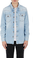 Off-White Men's Striped-Back Denim Shirt-BLUE