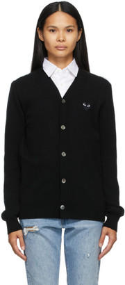 Comme des Garcons Black Monochrome Heart Patch V-Neck Cardigan