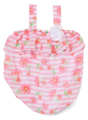 Baby Essentials Girls' Infant Bodysuits Coral - Cora Floral Stripe Rosette Ruffle Bubble Bodysuit - Infant