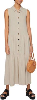 Warehouse Linen Tiered Shirt Dress