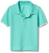 Stripe-sleeve pique polo