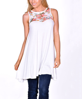 Ivory Floral-Contrast Sleeveless Tunic