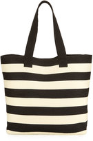 San Diego Hat Company Wide Striped Straw Tote Bag, Black