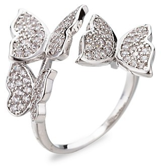 Eye Candy La 18K White Goldplated Cubic Zirconia Butterfly Ring