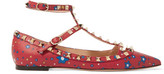 Valentino The Rockstud Printed Leather Point-toe Flats - Red