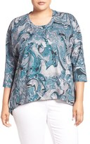 Melissa McCarthy Plus Size Women's Print Back Zip Ponte Top