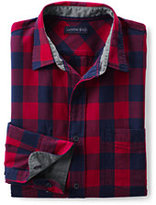 Classic Men's Tailored Fit Long Sleeve Forewind Twill Shirt-Deep Scarlet Check