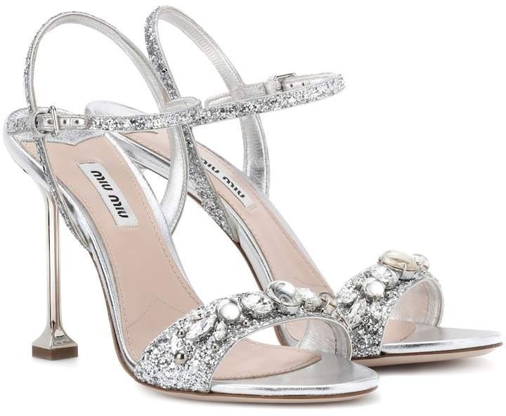 Miu Miu Embellished leather sandals