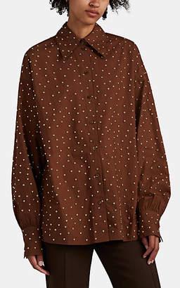 Françoise Women's Studded Cotton Button-Front Blouse - Brown