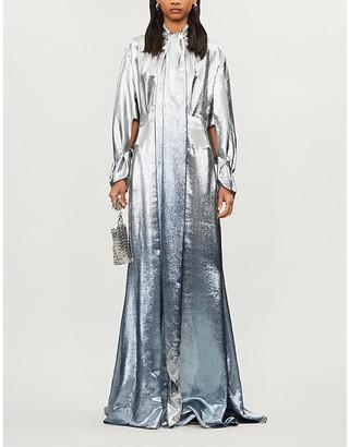 Roland Mouret Osprey ombre metallic silk-blend maxi dress