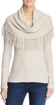 Minnie Rose Fringe Cowl Cashmere Sweater