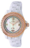 Le Château _WHTMOP Women's Condezza CollectionCrystal Accented White Ceramic MOP Dial Watch