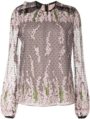 Giambattista Valli Floral-Embroidered Sheer Blouse