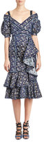 Erdem Kaitlyn Floral-Print Midi Dress, Blue