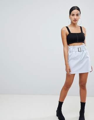 Asos Design DESIGN leather look mini skirt with gathered waist and belt-Multi
