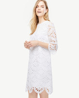 Ann Taylor Scallop Eyelet Shift Dress
