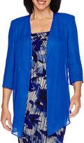 MAYA BROOKE Maya Brooke Elbow-Sleeve Floral Jacket Dress