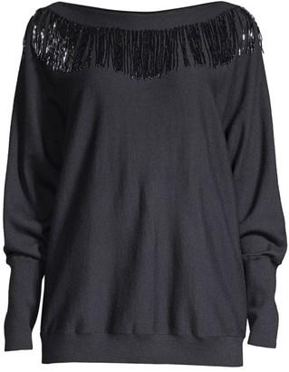 Lafayette 148 New York Fringe Embellished Dolman Sweater