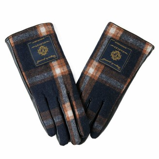 Jeff & Aimy Winter Dring Gloves for Women Wool Blend Plaid Touch Screen Elastic Knit Anti-Slip Orange/Black