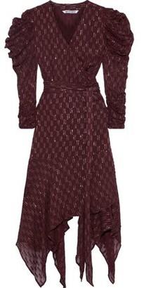 Walter Baker Mariela Asymmetric Metallic Fil Coupe Chiffon Wrap Dress