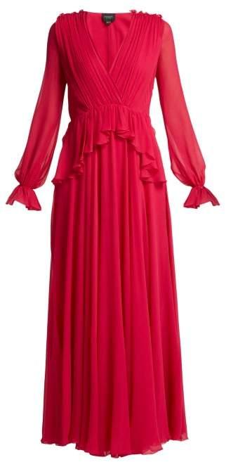 Giambattista Valli Gathered Silk Chiffon Gown - Womens - Fuchsia