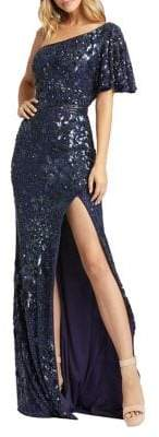 Mac Duggal Asymmetrical Sequined and Beaded Sheath Gown