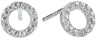 Shashi Circle Pave Stud Earrings (White/Gold/Crystal) Earring