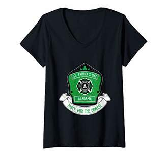 Womens Alabama Firefighter St Patrick's Day Party with the Bravest V-Neck T-Shirt